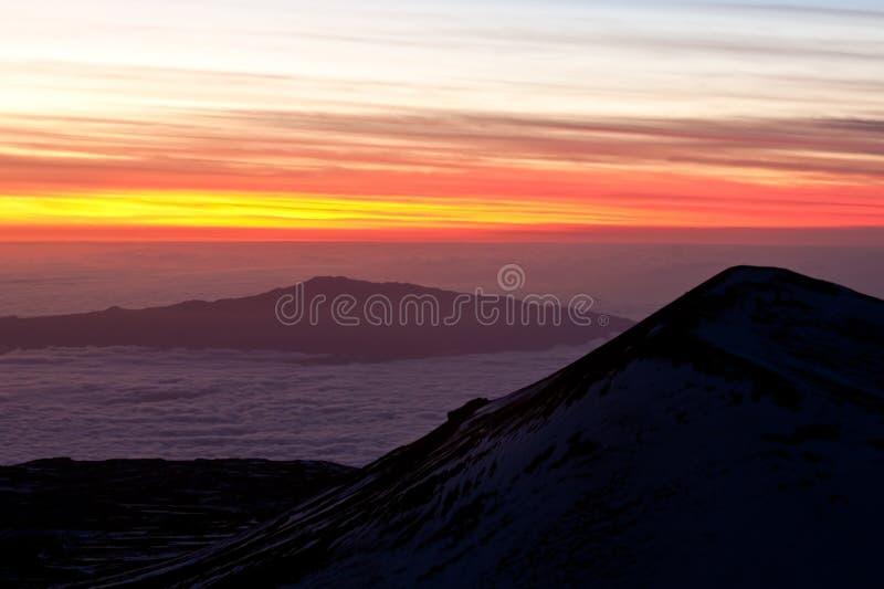 Vue de Mauna Kea au coucher du soleil image libre de droits