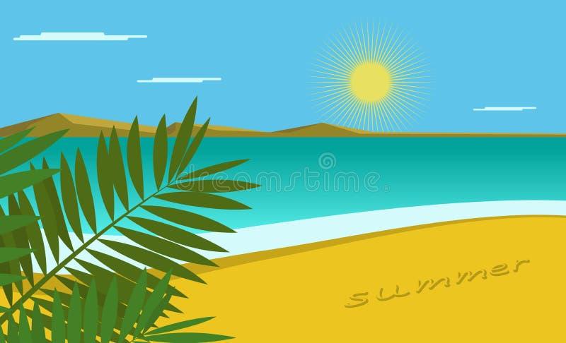 Vue de mer avec des palmettes dans le premier plan Fond simple Pour le décor, bannière illustration libre de droits