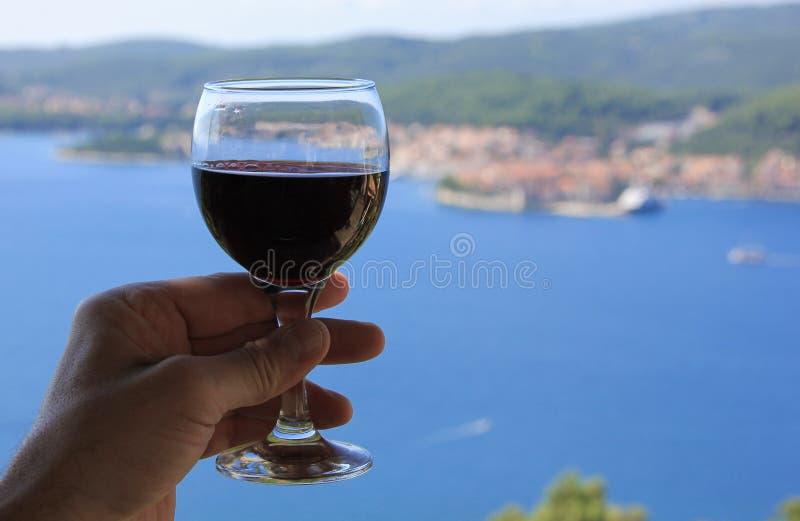 Vue de mer de vin rouge image stock