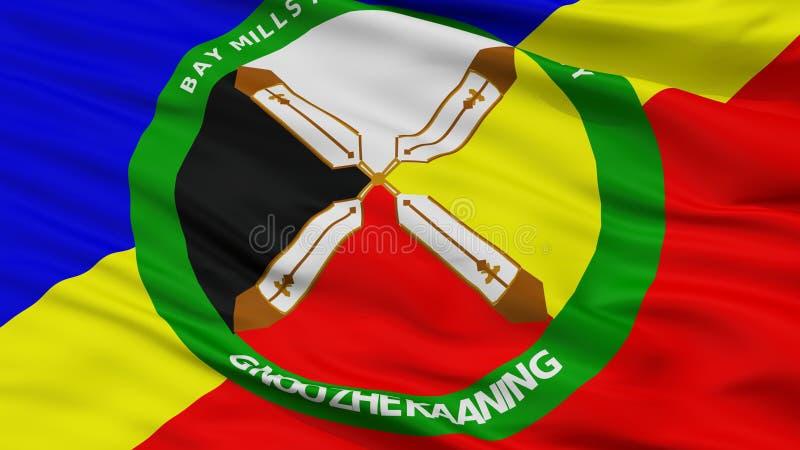 Vue de Mills Community Indian Flag Closeup de baie illustration stock