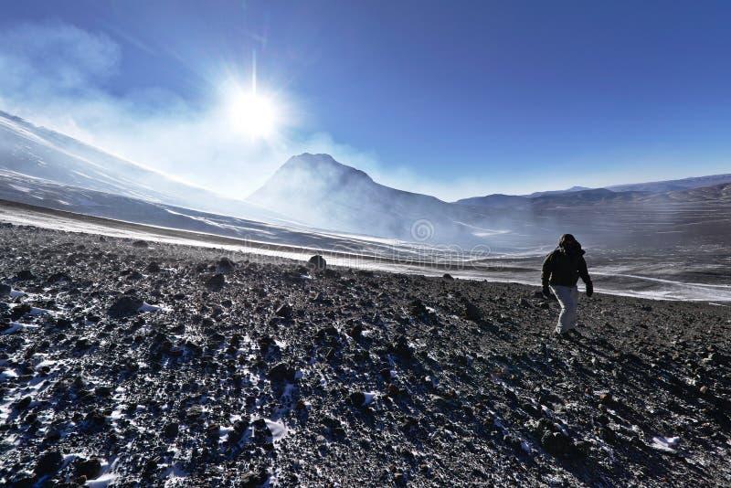 Vue de montagne de Lascar image libre de droits