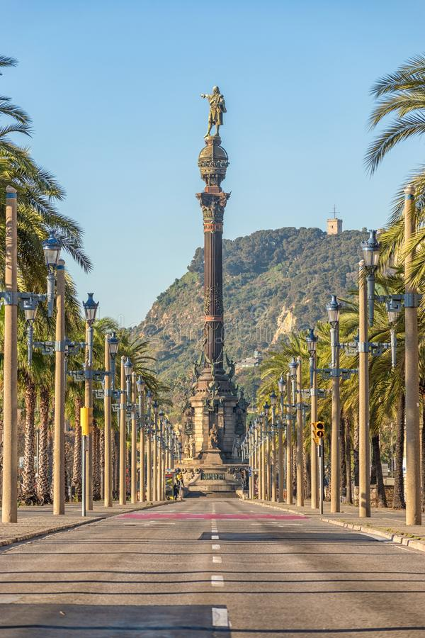 Vue de monument de Christopher Columbus à Barcelone, Espagne photographie stock
