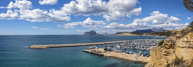 Vue de Moraira en Espagne image stock