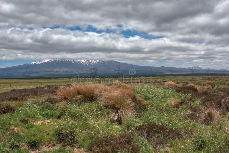 Vue de Mt Ruapehu comme vu de la route de désert au Nouvelle-Zélande photos libres de droits