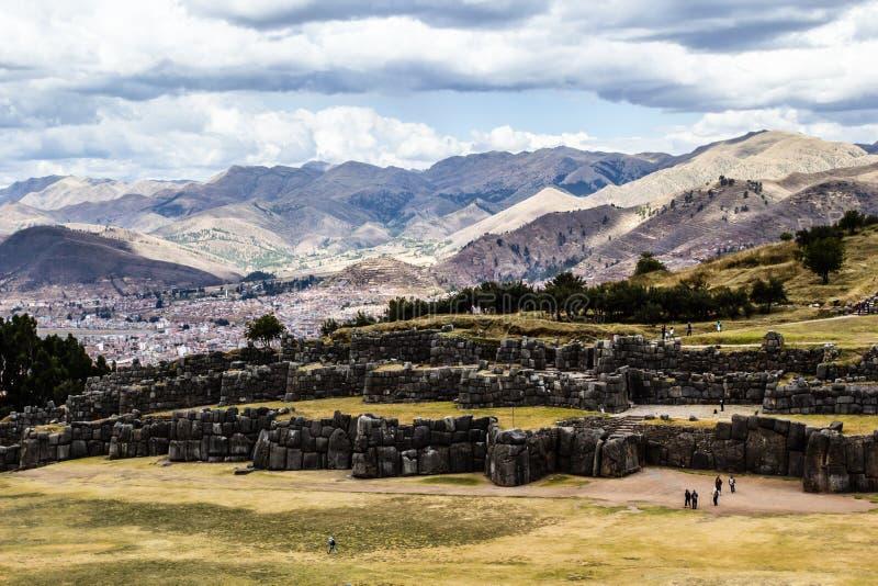 Vue de mur de Sacsayhuaman, dans Cuzco, le Pérou. photo stock