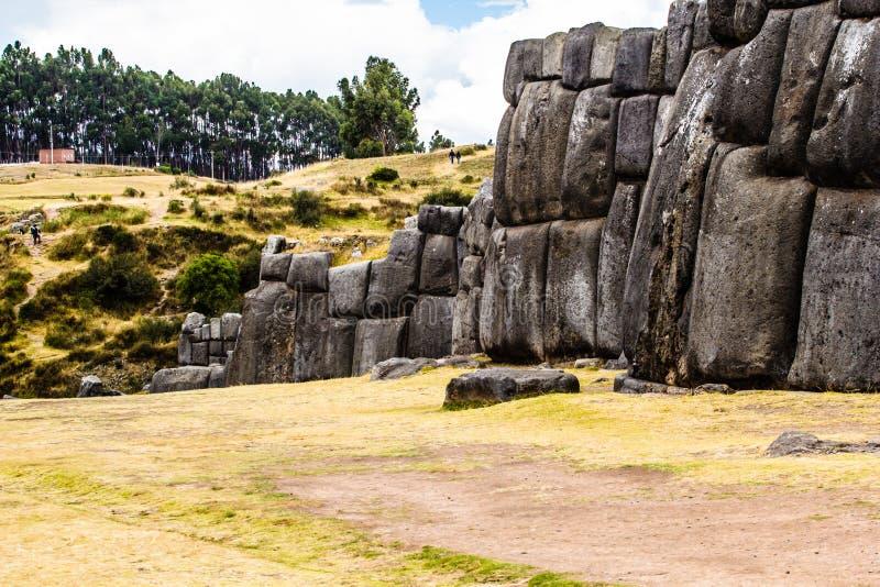 Vue de mur de Sacsayhuaman, dans Cuzco, le Pérou. image stock