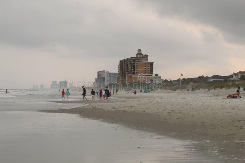Vue de Myrtle Beach dans un jour brumeux photo stock