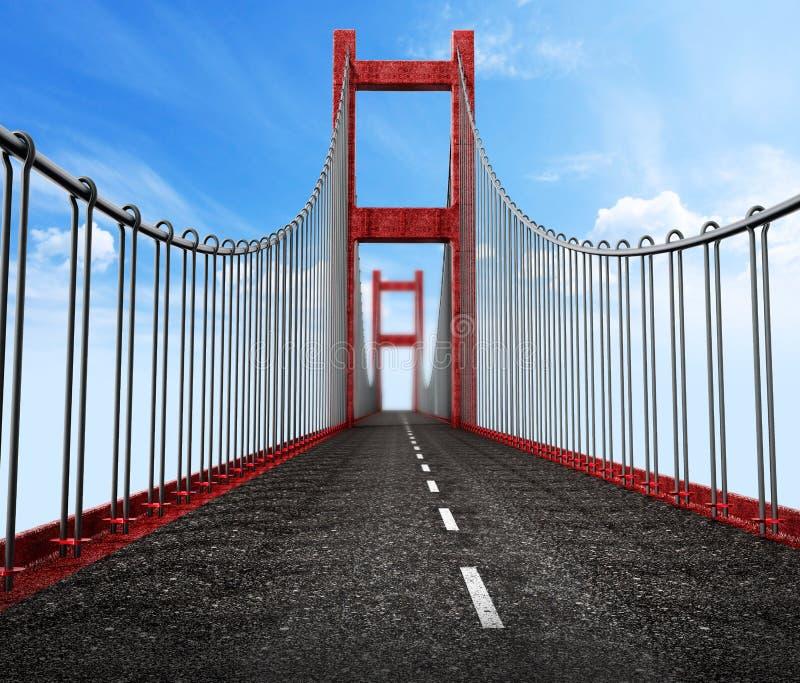 Vue de niveau de route du pont suspendu illustration 3D illustration de vecteur