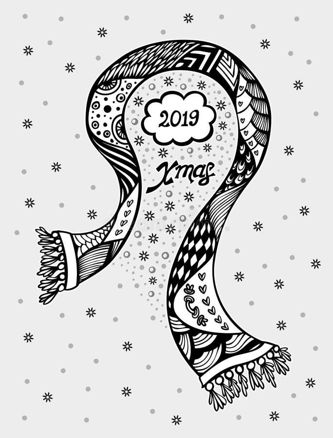 Vue de Noël avec les flocons de neige d'écharpe ou la carte postale créative dans le blanc noir illustration stock