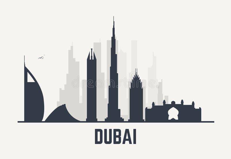 Vue de noir de Dubaï illustration de vecteur