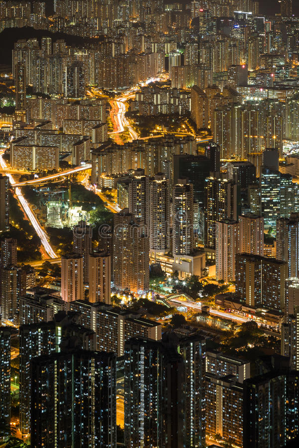 Vue de nouveau Kowloon en Hong Kong la nuit image libre de droits
