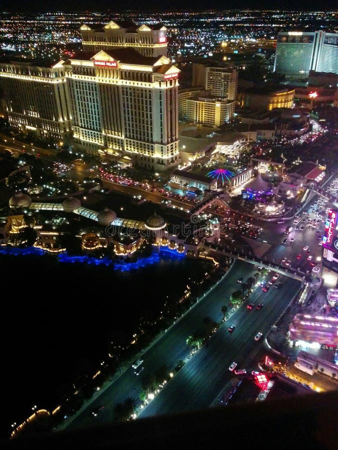 Vue de nuit de bande de Las Vegas, lumières du nord photographie stock