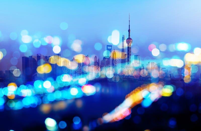 Vue de nuit de Changhaï photo libre de droits