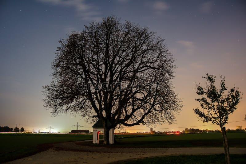 Vue de nuit d'arbre et de chapelle image stock