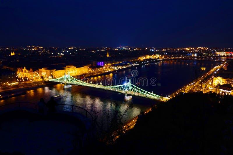 Vue de nuit d'Elizabeth Bridge, le Danube photographie stock libre de droits