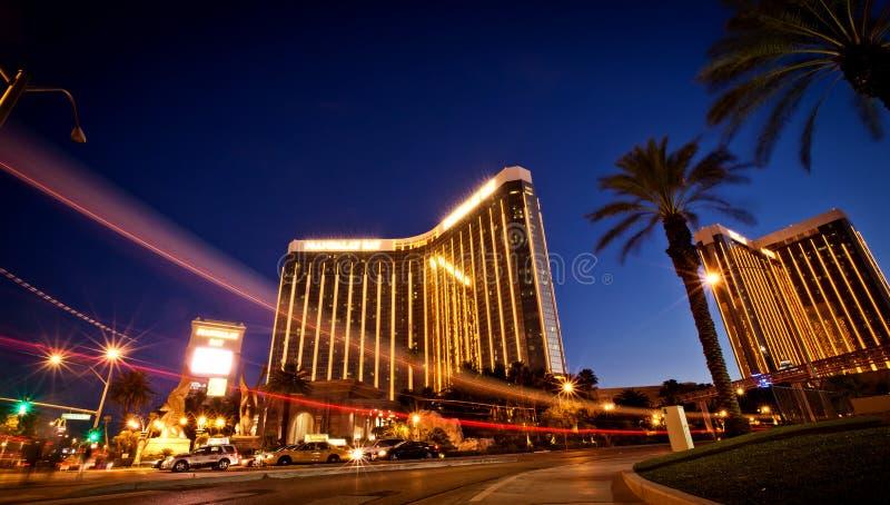 Vue de nuit d'hôtel de compartiment de Mandalay à Las Vegas photos libres de droits