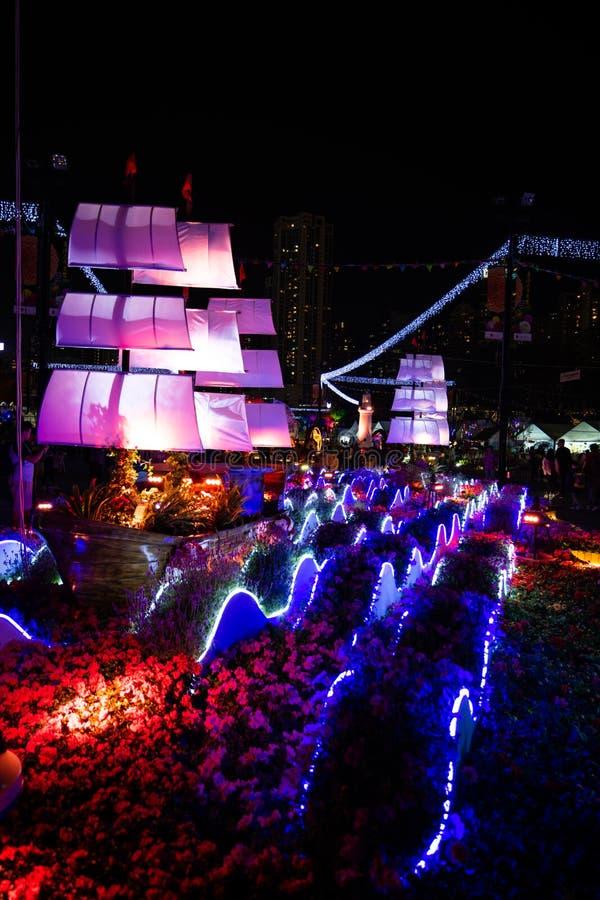 Vue de nuit d'objet exposé de Hong Kong Flower Show 2018 image stock