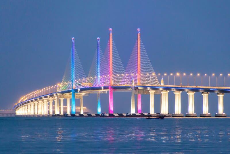 Vue de nuit de 2ème pont de Penang, George Town Penang images libres de droits