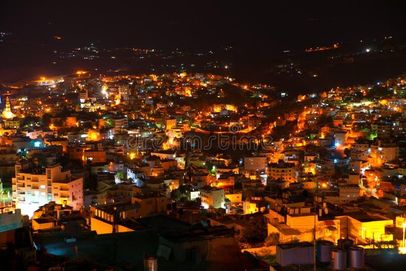 Vue de nuit de Bethlehem, Palestine, Israël photographie stock libre de droits