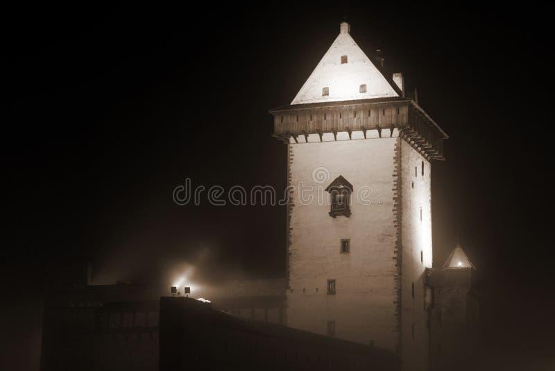 Vue de nuit de château de Herman. photo stock