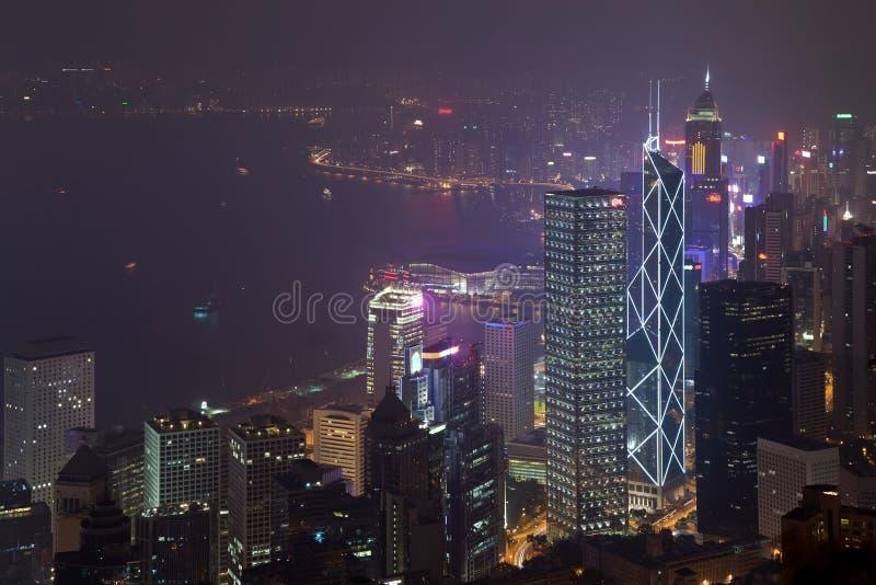 Vue de nuit de Hong Kong photos stock