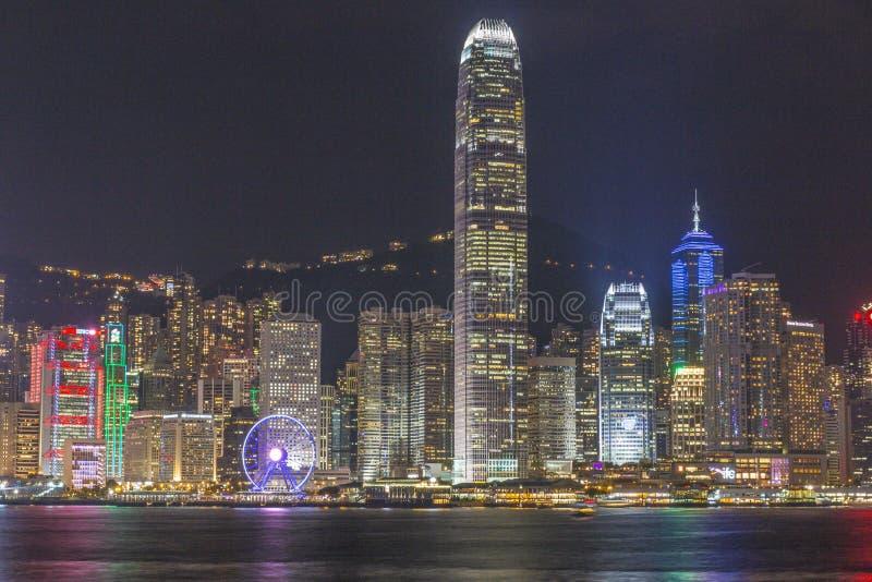 vue de nuit de Hong Kong photographie stock