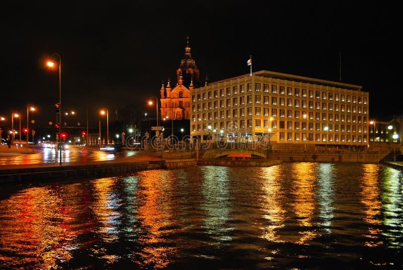 Vue de nuit de l'hiver Helsinki image stock