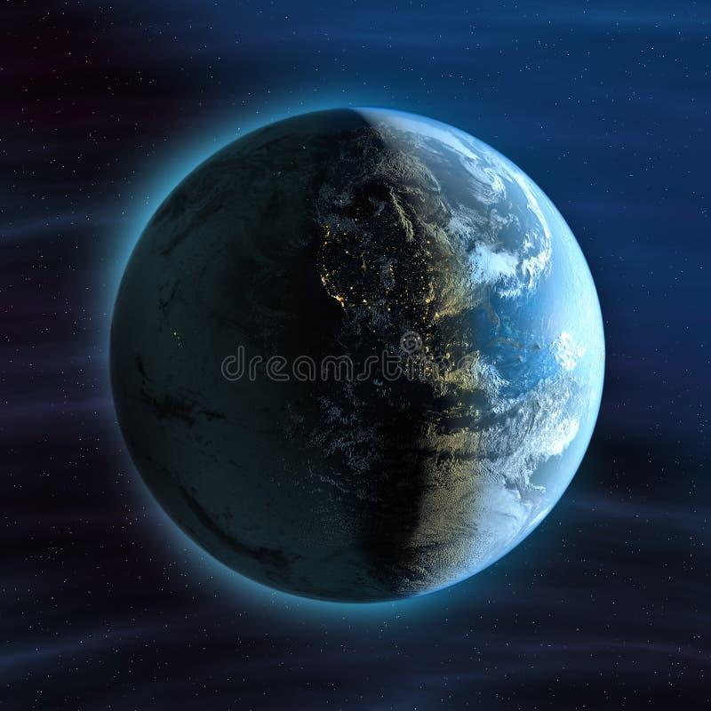 vue de nuit de la terre de l'Amérique illustration de vecteur