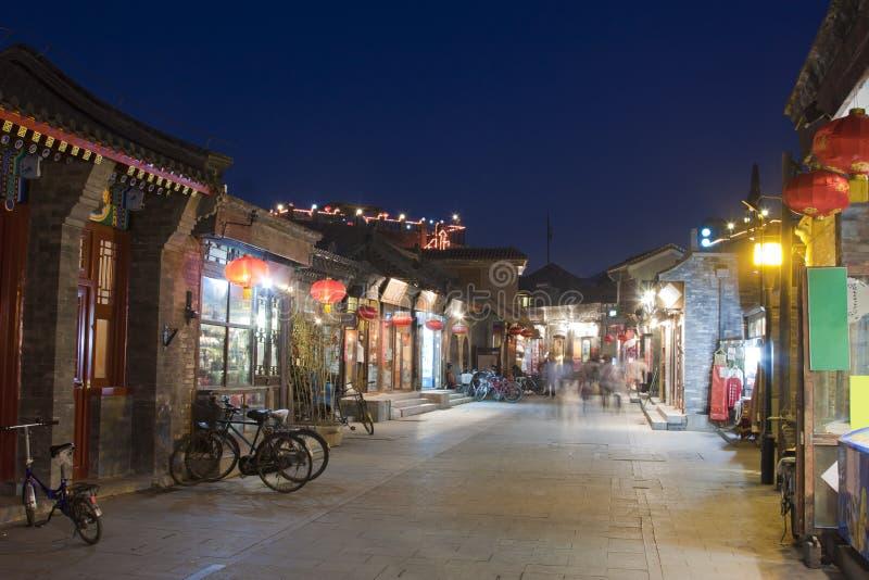 Vue de nuit de Pékin Hutong, Chine photographie stock libre de droits