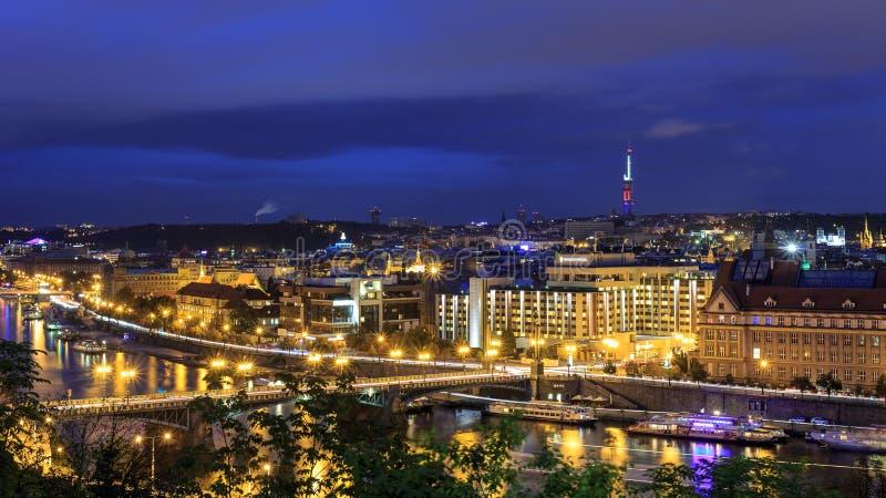 Vue de nuit de Prague photos stock