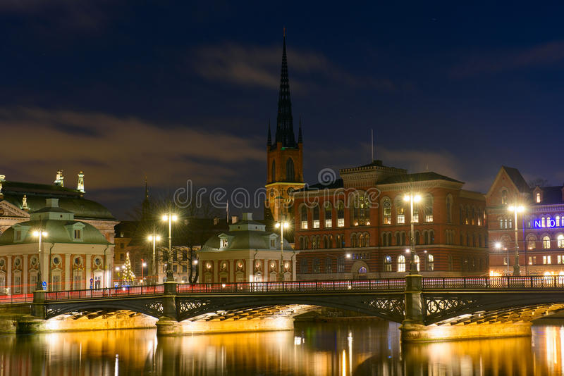 Vue de nuit de Stockholm, Suède images libres de droits