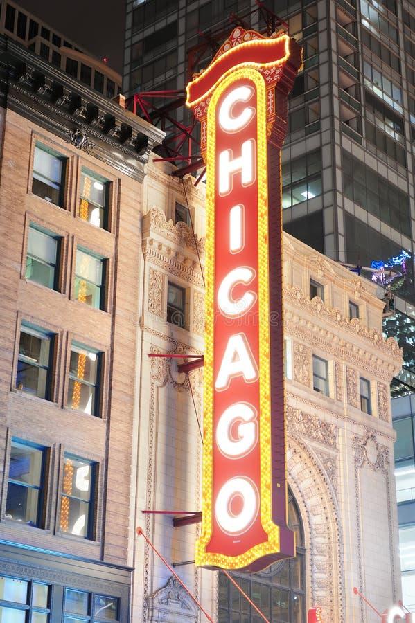 Vue de nuit de théâtre de Chicago photo stock