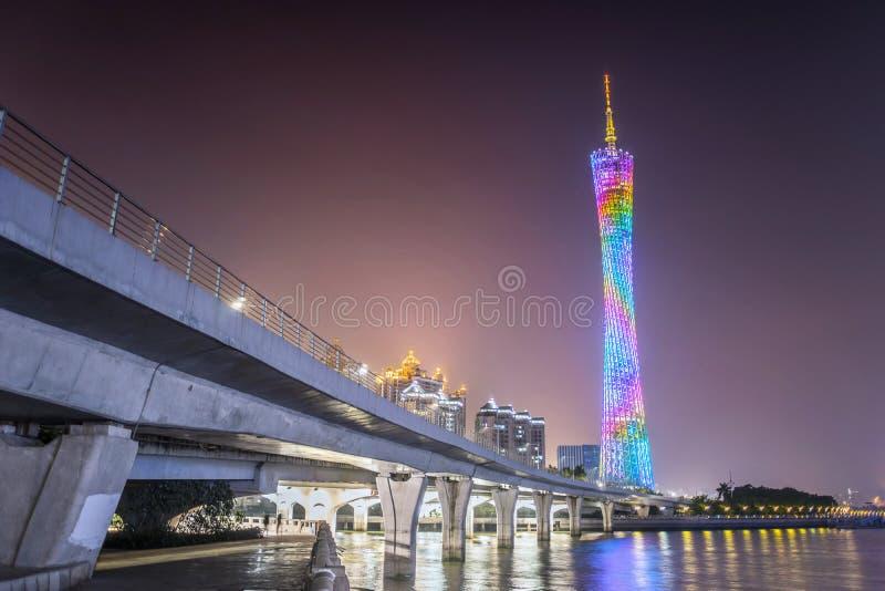 Vue de nuit de tour de Guangzhou photographie stock