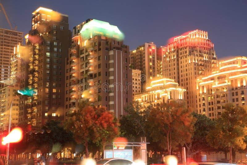 Vue de nuit de ville de Taichung image stock