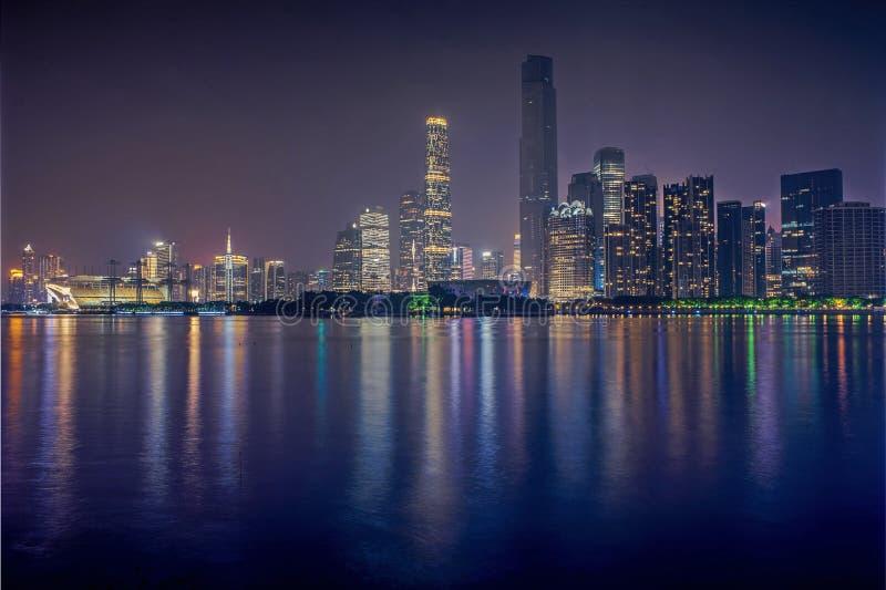 Vue de nuit de ville nouvelle de Zhujiang photos libres de droits