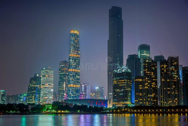 Vue de nuit de ville nouvelle de Zhujiang image stock