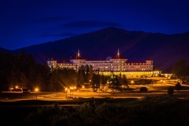 Vue de nuit du bâti Washington Hotel en Bretton Woods, nouveau H photo libre de droits