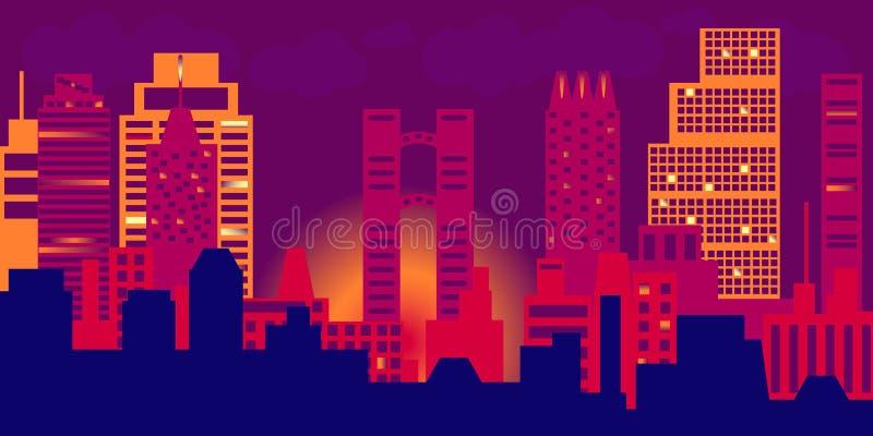 Vue de nuit du paysage urbain moderne illustration stock