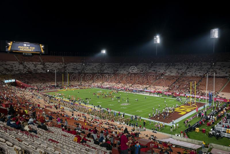 Vue de nuit de fanfare d'USC dans le terrain de football image stock