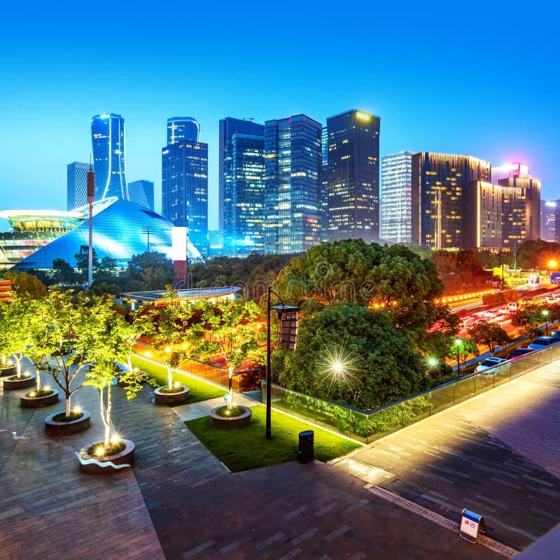 Vue de nuit de Hangzhou images libres de droits
