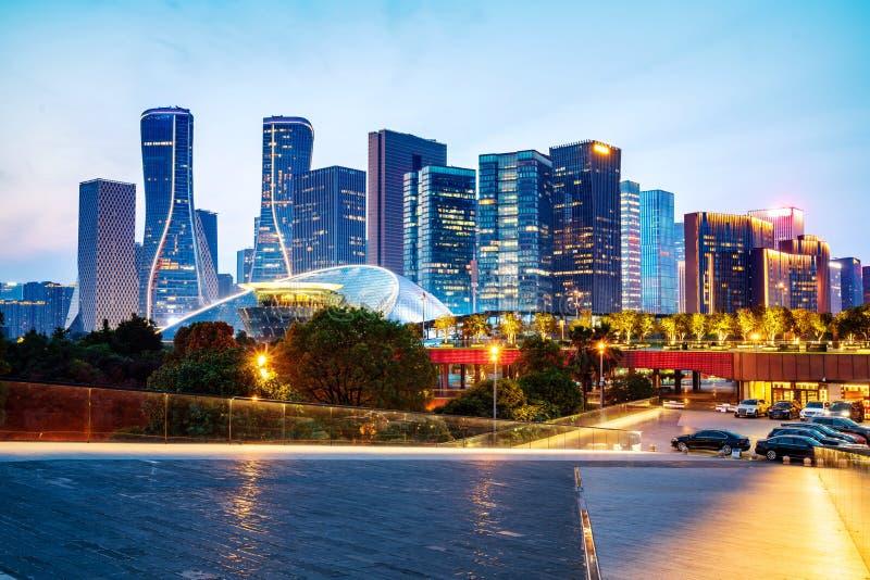 Vue de nuit de Hangzhou image stock