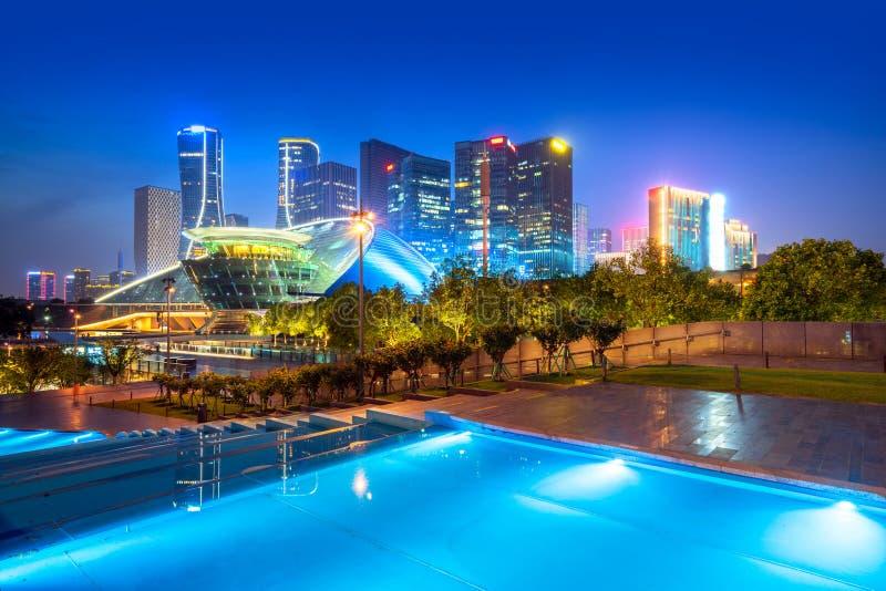 Vue de nuit de Hangzhou image libre de droits