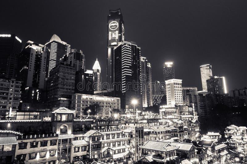Vue de nuit de Hongyadong, Chongqing, Chine images libres de droits