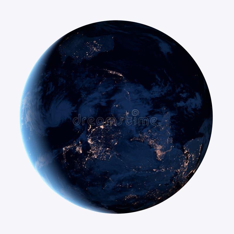 Vue de nuit de la planète de la terre d'isolement sur le fond blanc photo stock