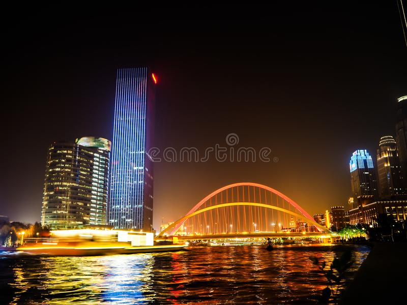 Vue de nuit de la promenade dans Tianjin image libre de droits