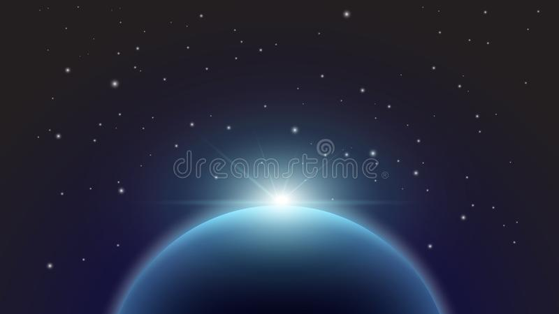 Vue de nuit de la terre du satellite sur le fond du ciel étoilé et du Soleil Levant l'espace Illustration de vecteur illustration libre de droits