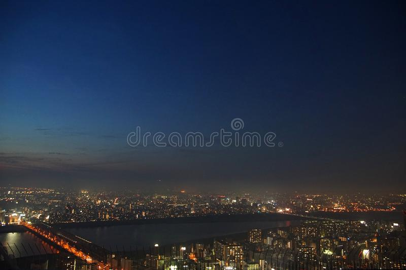 Vue de nuit de la ville d'Osaka, Japon photos stock