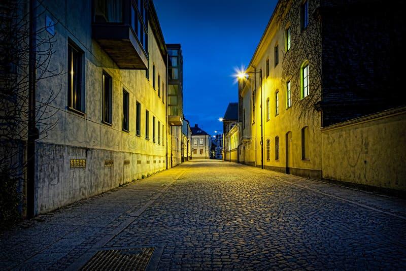Vue de nuit de perspective d'une rue urbaine vide de pavé rond avec les lumières déprimées images libres de droits