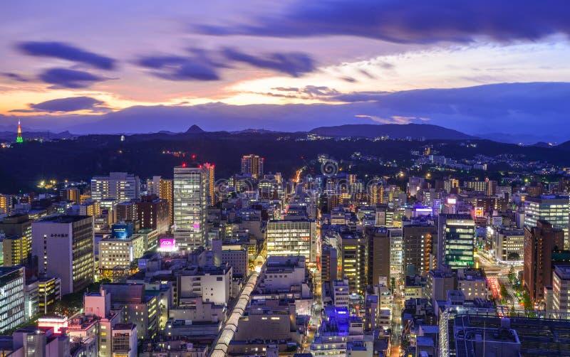 Vue de nuit de Sendaï, Japon images libres de droits