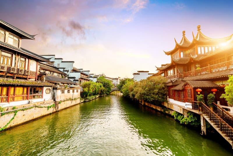 Vue de nuit de temple de Nanjing Confucius images stock
